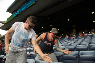 Our group doing a tomahawk chop helped spur on a 10-inning winning home run.