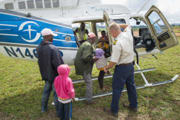 Three patients and their caregivers were transported by helicopter on the first day. It was just the beginning of a weeklong series of flights.