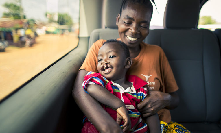 One-year-old Jonna and his mom Kpana were flown in from the interior of Liberia for the boy's cleft lip surgery at ELWA Hospital near Monrovia.