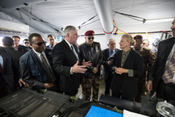 Franklin Graham speaks with dignitaries, including U.N. Humanitarian Coordinator for Iraq Lise Grande, at our field hospital.