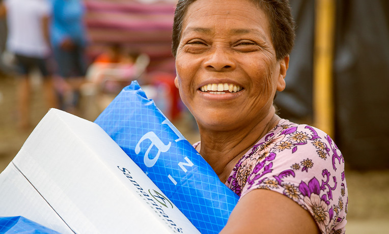 "One way we help in disaster situations is by handing out ""family survival kits"" that include warm blankets, buckets with water filters, cooking utensils, soap, and other daily essentials. For just $45, we can provide a lifeline to a family that has lost everything, to help them get back on their feet."