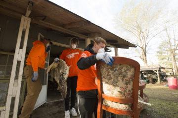 The William Carey University men's soccer team volunteered in Hattiesburg.