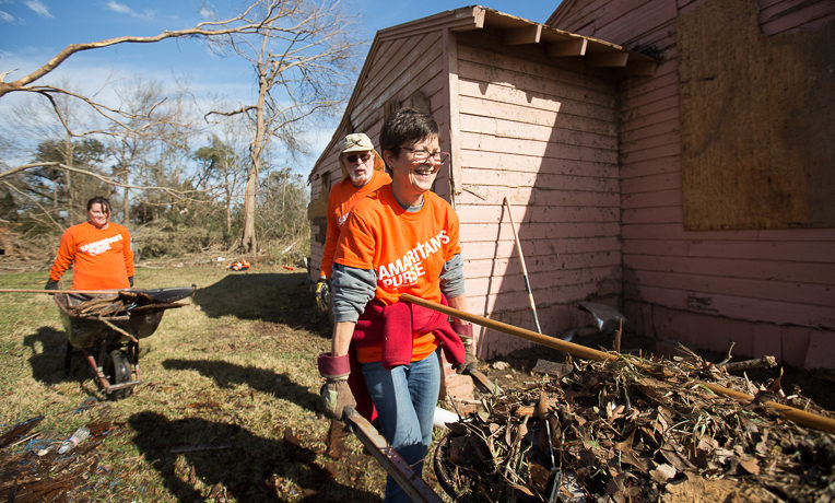 Leslie Camp is one of hundreds of volunteers who have served Mississippi homeowners after the January 21 tornado.