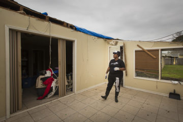 The tornado ripped the roof off Ebony's home.