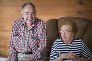 """Homeowners Jewell, 94, and Anna Christine, 90, reminisce about their home. They will have to replace some furniture, but they are excited for the new start. """"I think we'll have a better house now because it's been redone,"""" Anna Christine said."""