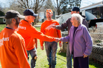 Gertrude Patterson enjoyed meeting each volunteer who worked on her house, which she's lived in for 68 years.