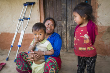 Bishnu and her grandchildren.