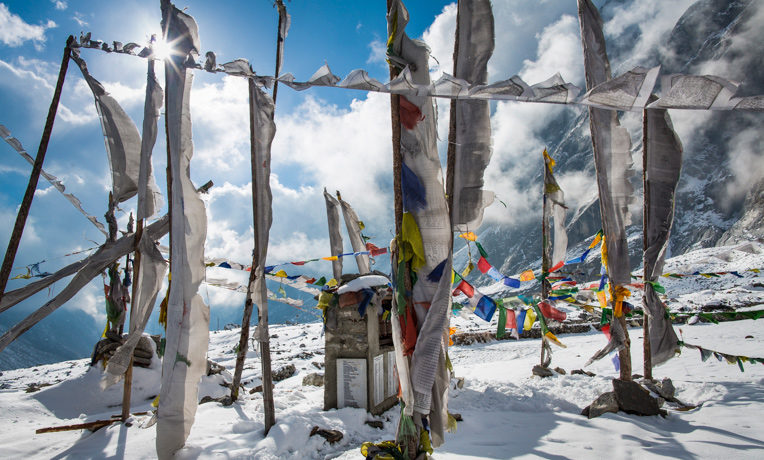 A memorial site for Langtang villagers who were buried underneath the earthquake's rubble.