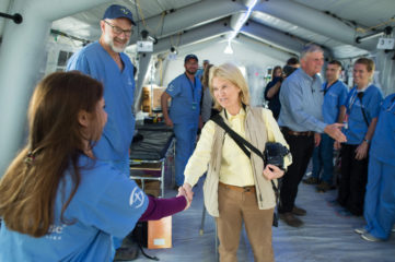 Greta Van Susteren and Franklin Graham greet our staff at the emergency field hospital outside Mosul.