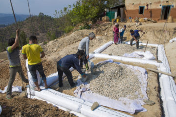 Construction is underway on a new home for Ganga's family.