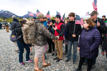 Nearby residents join Samaritan Lodge staff for a hero's welcome of our newest military couples.