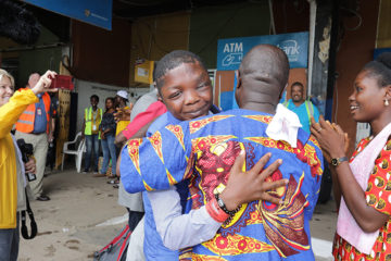 Sampson is now in Liberia with family and friends after life-changing facial surgery.