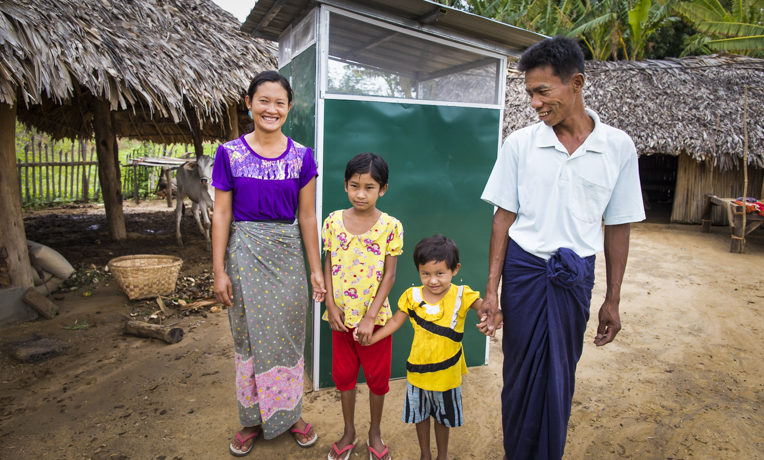 Nwe Win and her family received a latrine from Samaritan's Purse. They also participated in trainings to learn healthy hygiene practices.