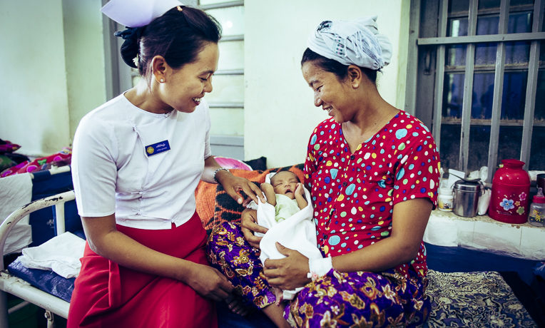 Midwife Wae Wae Tun works in four remote villages in Myanmar. Midwives play an important role in the overall health of women, children, and families.