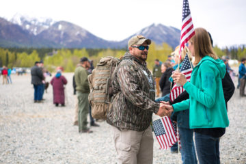 A warm, patriotic welcome awaits couples when they arrive at Samaritan Lodge Alaska.
