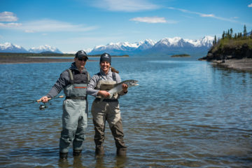 Military Marriages--Marine Corporal Chad and Lindsey Hiser fished for trout in Lake Clark.