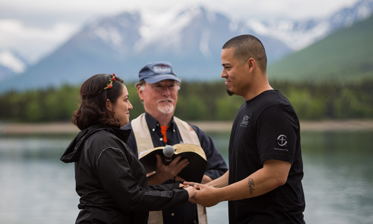 Army Sergeant First Class Gabe Salas and his wife Salas recommitted themselves to God and each other in a marriage ceremony on the beach at Samaritan Lodge Alaska.