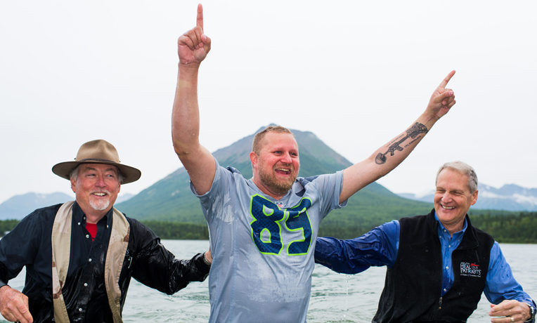 Marine Sergeant Daniel Erlandson was baptized in Lake Clark by our chaplains.