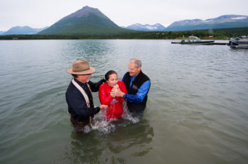 Joanna was baptized in the  cold waters of Lake Clark.