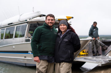 Joanna and Marine Lance Corporal Devin Kyle enjoyed fishing aboard the Jay Hammond boat on Monday.