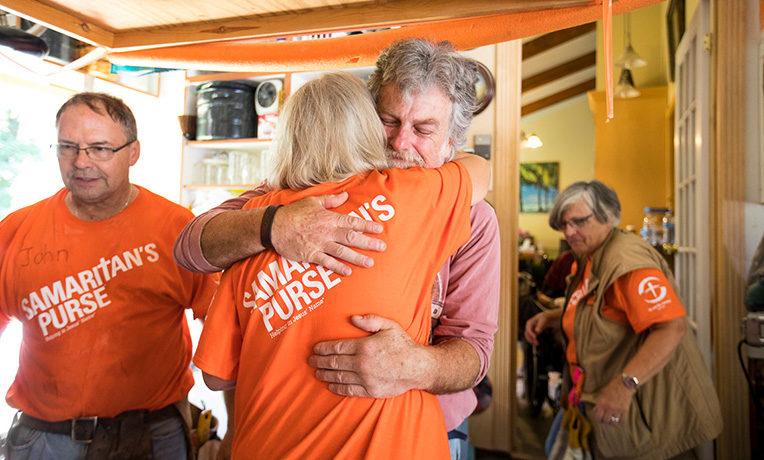 Samaritan's Purse volunteers helped mud-out Ed Duffett's home in Silver Lake, Wisconsin.