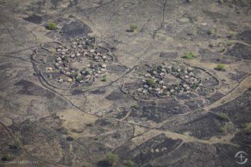 An aerial view of settlements in Karamoja.