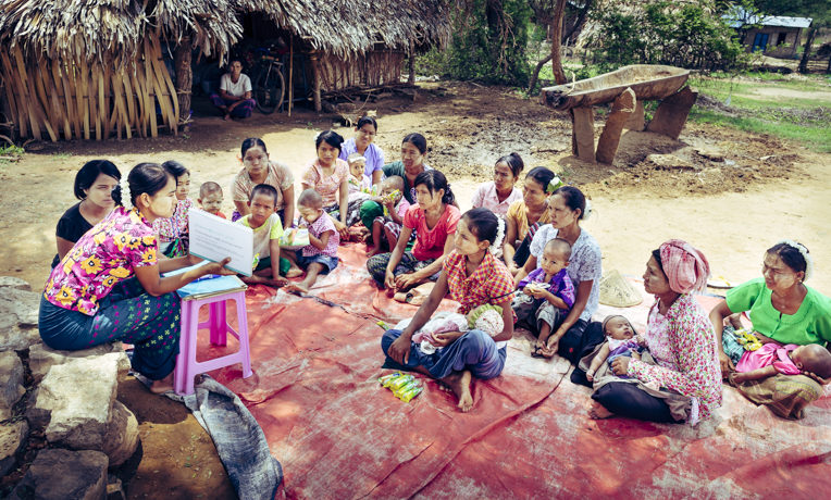Mother-to-mother groups in Myanmar's remote villages teach women about nutrition and healthy hygiene.