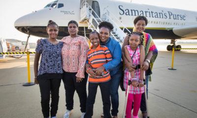 The Tanzania bus crash survivors prepare to return home with their mothers aboard the Samaritan's Purse DC-8.