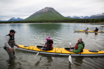 Walter and Elana together kayaked Lake Clark.