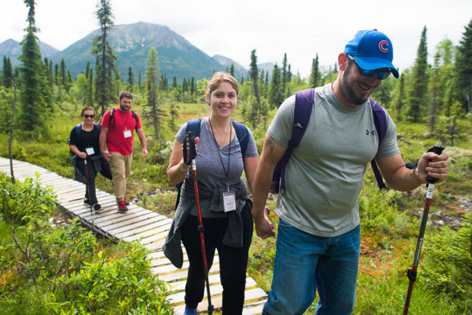 Military couples like Luis and Nancy bond during activities such as hiking. Operation Heal Our Patriots is a special time for couples to enjoy time together and to focus on strengthening their marriage.