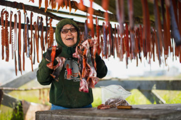 Sophia enjoys fishing and works hard to store meat for winter.