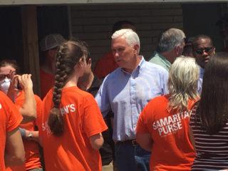 Vice President Mike Pence greets Samaritan's Purse volunteers in Texas.