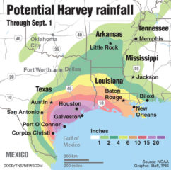 Predicted rainfall through Sept. 1 for Hurricane Harvey.
