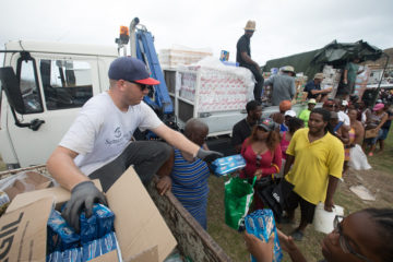 Families in St. Martin are glad to receive food and relief supplies from Samaritan's Purse.