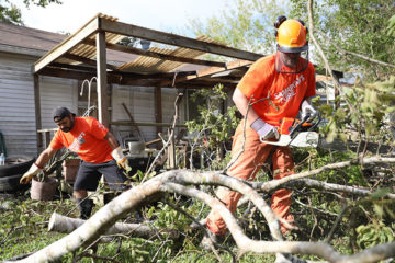 Many volunteers are busy with chainsaw work in Victoria, Texas.