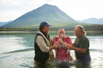 """Matty McKenzie and her husband, Army Sergeant First Class Jeff McKenzie, both received Jesus Christ as Lord last week and were baptized in Lake Clark. """"It changed our lives forever,"""" Jeff said."""
