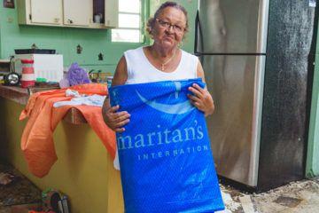 Doris Morell received heavy-duty shelter tarp from Samaritan's Purse.