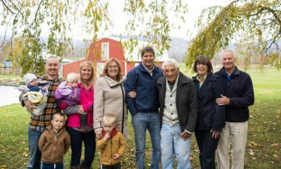 (Left to right, front row:) Quinn (4) and Adler (3) Hansen. (Back row:) Hayes (3 months), Ryan, Ingrid (1), and Leah Hansen; Susan and David Miller; Ira Miller; Debbie and David Welch.