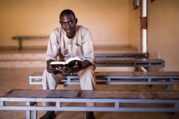 Pastor Hassane Hamadou prepares for services in the beautifully rebuilt sanctuary at Emanuel Baptist Church in Goudel, Niger