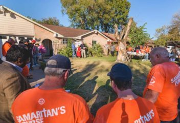 Many people gathered together to pray over Margarita's home as it was dedicated on Thanksgiving  Day.