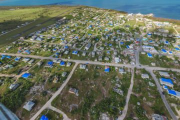 Blue tarp from Samaritan's Purse now covers many of the homes on Barbuda.