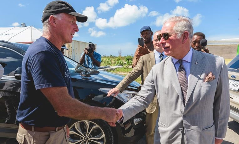 Prince Charles and Ray Helm discussed the work of Samaritan's Purse on Barbuda.
