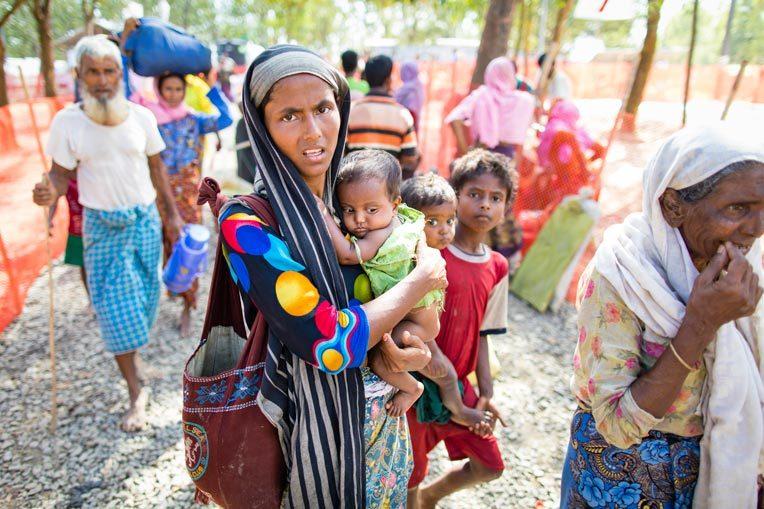 The Rohingya are fleeing from Myanmar to Bangladesh.