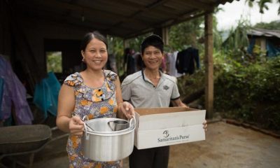 Trung Thanh Phan and his wife Ha received shelter and kitchen supplies from our DART teams.