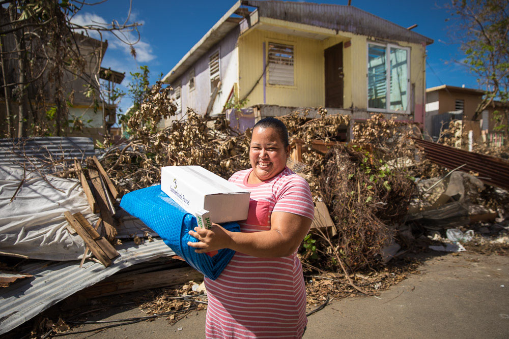 Distributing relief supplies in the Caribbean after hurricanes Irma and Maria