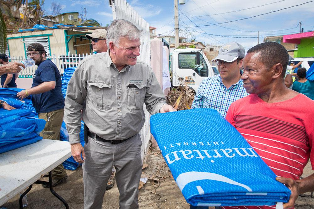 Samaritan's Purse president Franklin Graham in Puerto Rico after Hurricane Maria