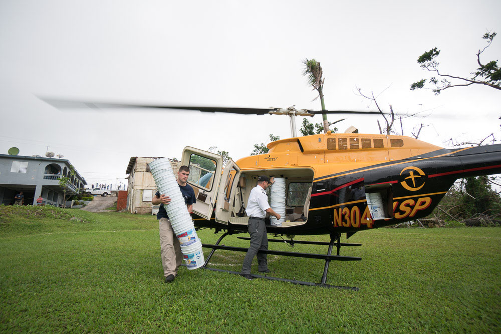 Samaritan's Purse helicopter delivers hurricane relief supplies in Puerto Rico