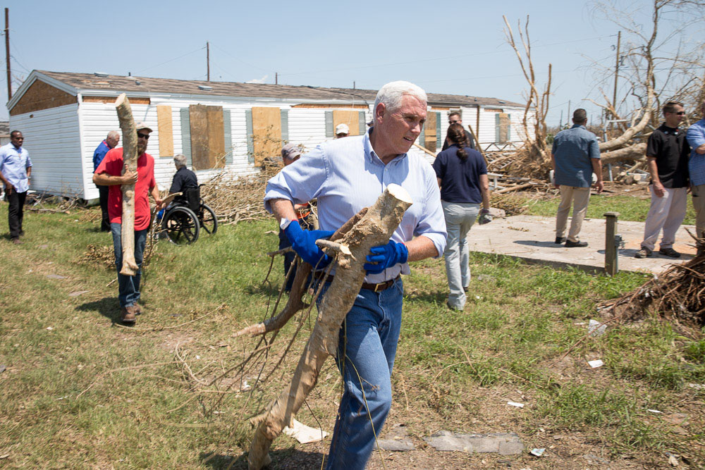 Vice President Mike Pence in Rockport, Texas, after Hurricane Harvey
