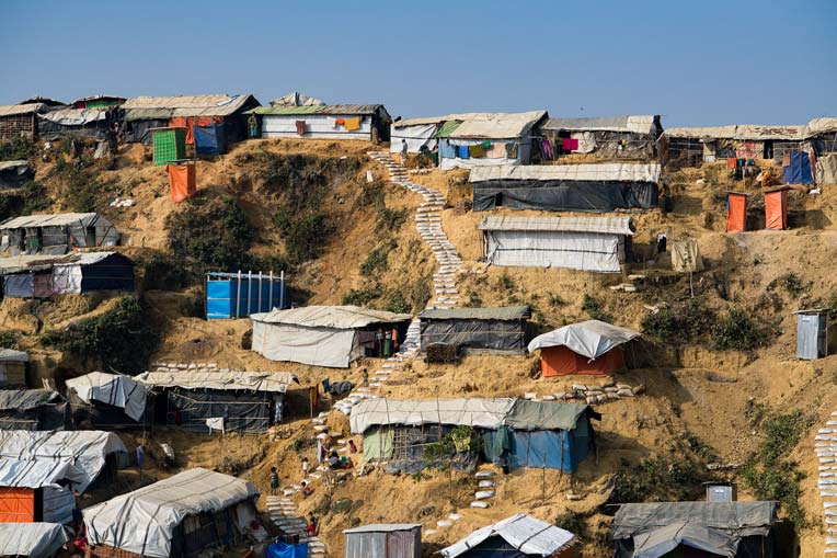 Conditions are spartan and ripe for the spread of disease at a Rohingya refugee camp in Bangladesh.