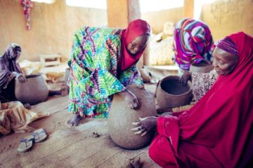 Women from the village of Karma, Niger, are learning to create clay pot BioSand filters for communities along the Niger River.
